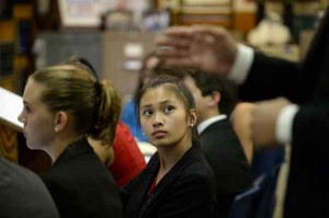 Angelica Garcia, 15, listens to a classmate during a Redlands High School Mock Trial team rehearsal on Tuesday, September 8, 2015 at Redlands High School in Redlands, Ca. (Micah Escamilla/Redlands)